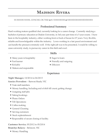 Night Manager resume example Oklahoma