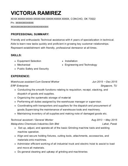 Warehouse assistant Cum General Worker resume format Oklahoma