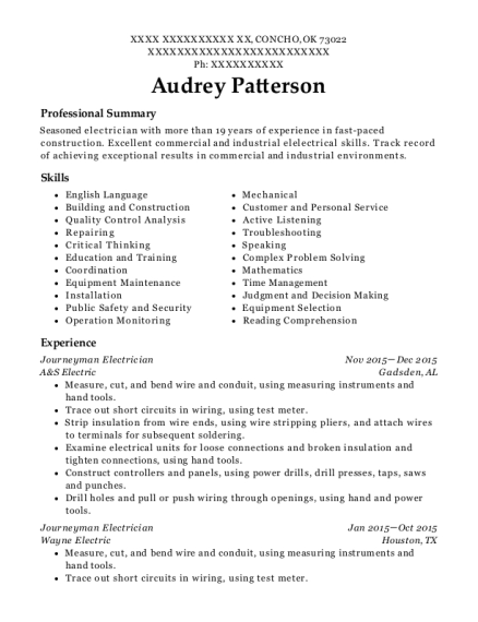 Journeyman Electrician resume example Oklahoma