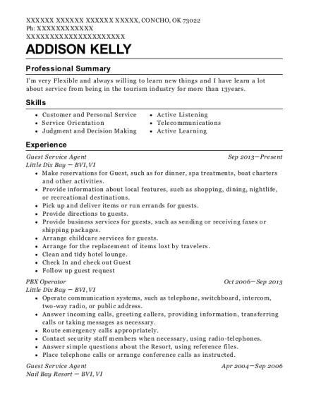 Guest Service Agent resume sample Oklahoma