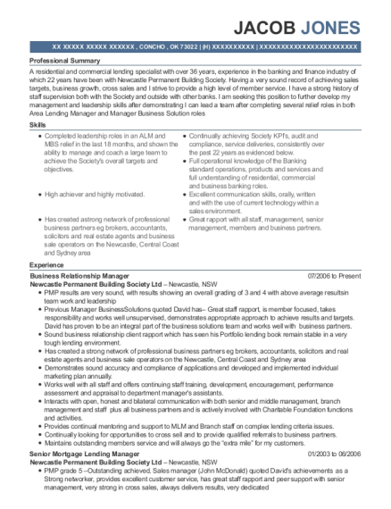 Business Relationship Manager resume example Oklahoma