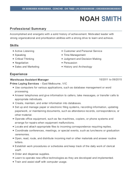 Warehouse Assistant Manager resume example Oklahoma
