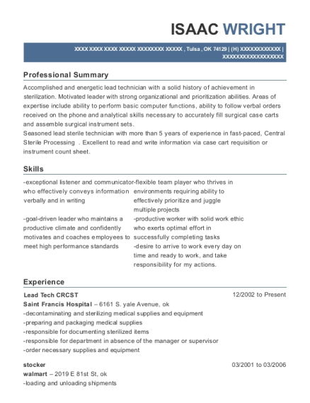 Lead Tech CRCST resume sample Oklahoma