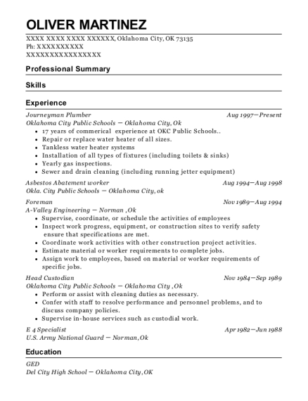 Journeyman Plumber resume example Oklahoma