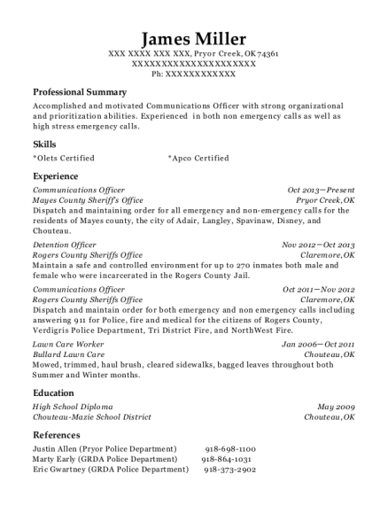 Communications Officer resume template Oklahoma