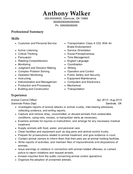 Animal Control Officer resume format Oklahoma