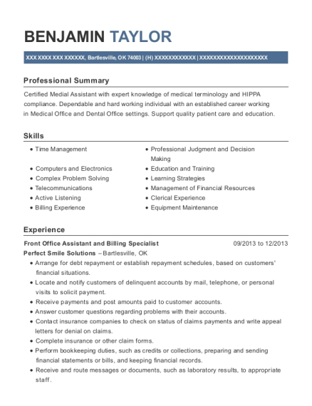 Front Office Assistant and Billing Specialist resume format Oklahoma