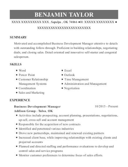 Business Development Manager resume format Oklahoma