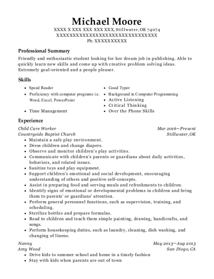 Child Care Worker resume format Oklahoma