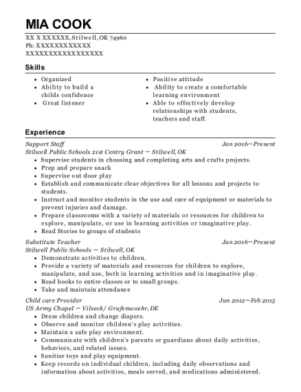 Support Staff resume template Oklahoma