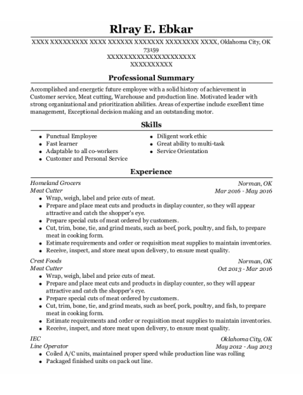 Meat Cutter resume format Oklahoma