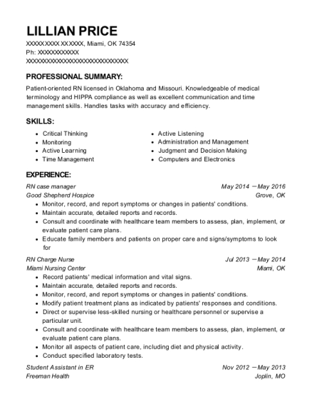 RN case manager resume template Oklahoma