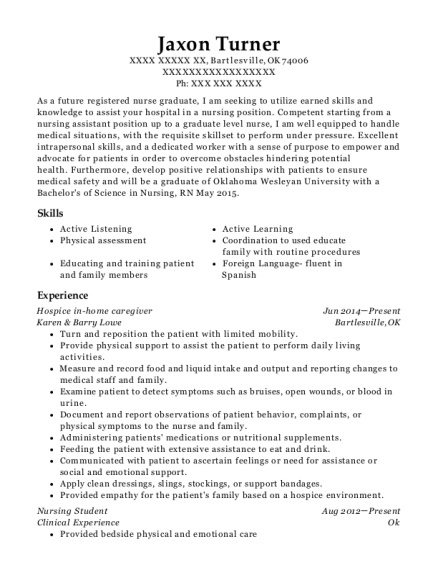 Hospice in home caregiver resume example Oklahoma