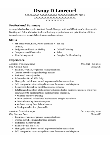 Assistant Branch Manager resume template Oklahoma