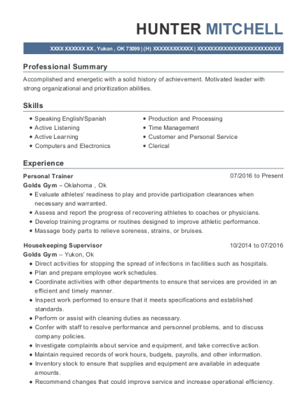 Personal Trainer resume format Oklahoma