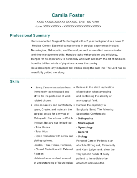 Nationally certified Surgical Technologist resume template Oklahoma