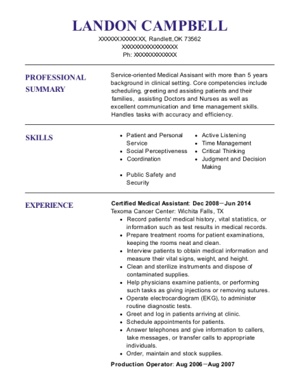Certified Medical Assistant resume template Oklahoma