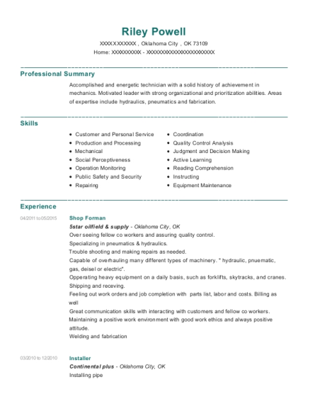 Shop Forman resume example Oklahoma