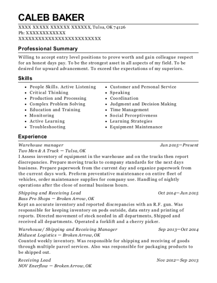 Warehouse Manager resume template Oklahoma