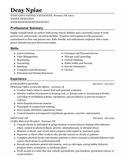 Patient Care Aide resume sample Oklahoma