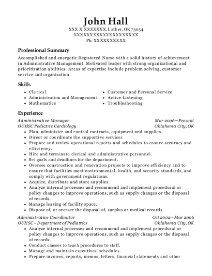 Administrative Manager resume format Oklahoma
