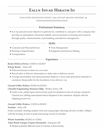 Route Delivery Driver resume format Oklahoma