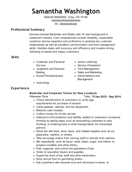 Bartender and Corporate Trainer for New Locations resume template Oklahoma