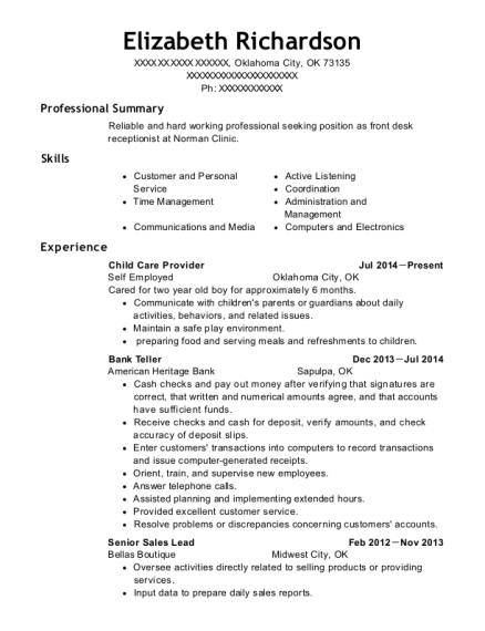 Child Care Provider resume format Oklahoma