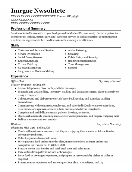 Office Clerk resume format Oklahoma
