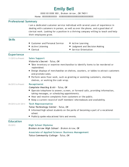 Sales Support resume example Oklahoma