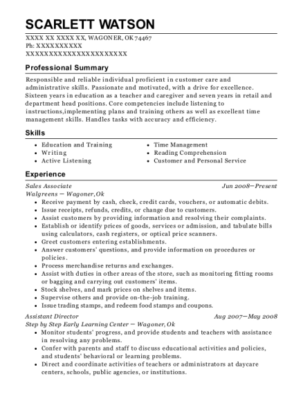 Sales Associate resume sample Oklahoma