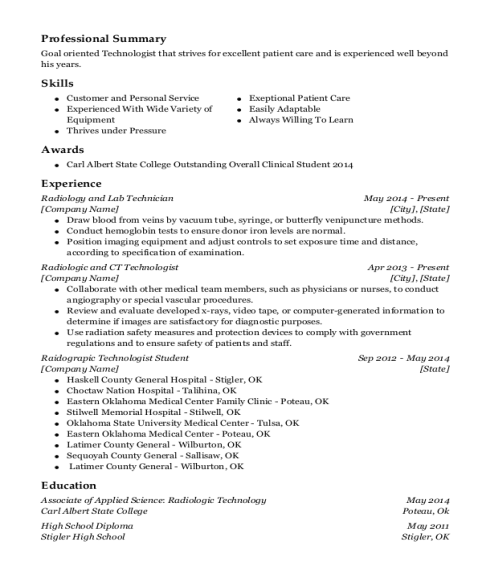 Radiology and Lab Technician resume format Oklahoma