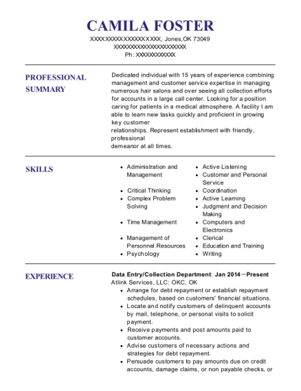 Data Entry resume format Oklahoma