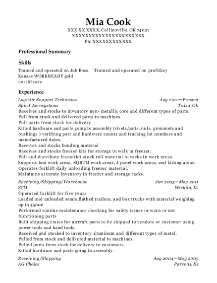 Logistic Support Technician resume format Oklahoma
