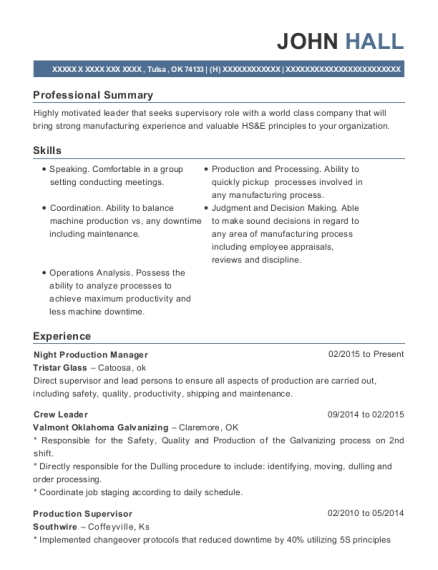 Night Production Manager resume template Oklahoma