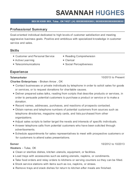 Telemarketer resume template Oklahoma