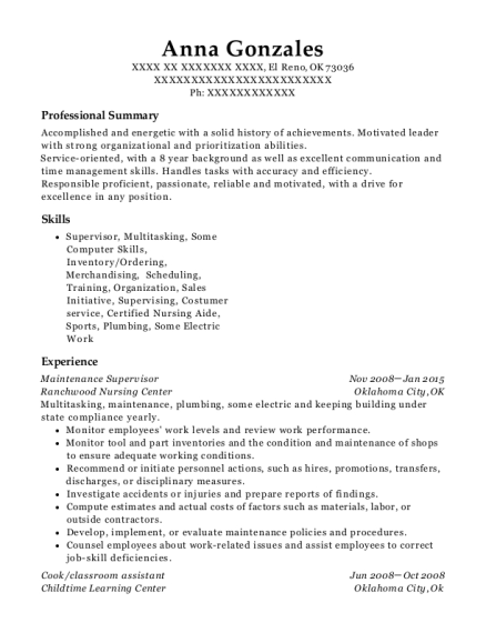 Maintenance Supervisor resume format Oklahoma
