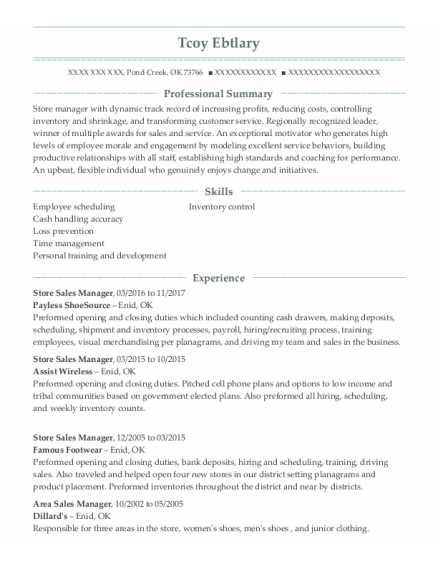 Store Sales Manager resume example Oklahoma