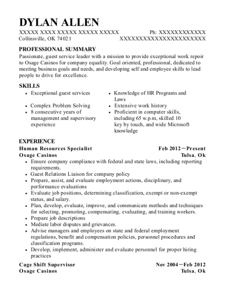 Human Resources Specialist resume example Oklahoma