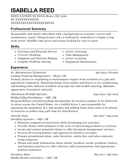 Sr Maintenance Technician resume example Oklahoma