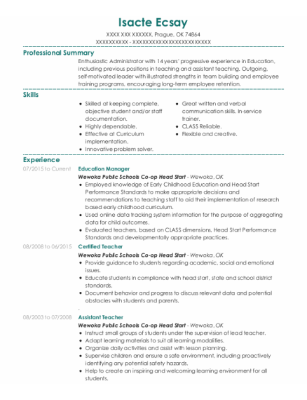 Education Manager resume example Oklahoma