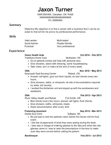 Home Health Aide resume format Oklahoma