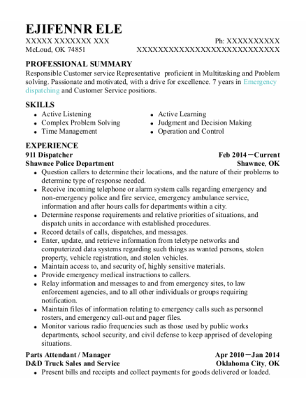 911 Dispatcher resume format Oklahoma