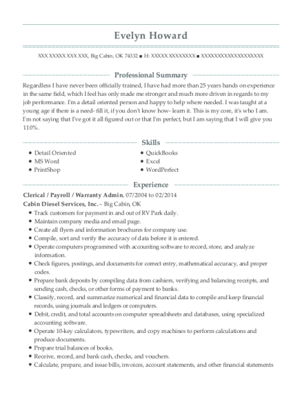 Clerical resume format Oklahoma