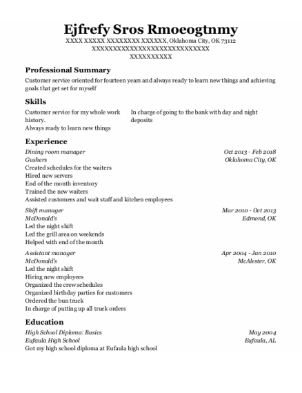 Dining Room Manager resume sample Oklahoma