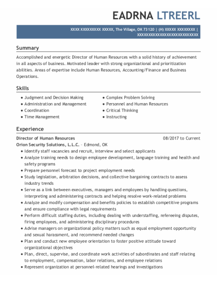 Director Of Human Resources resume format Oklahoma