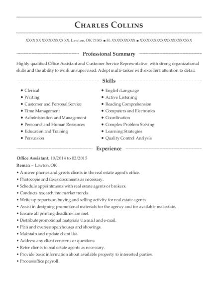 Office Assistant resume format Oklahoma