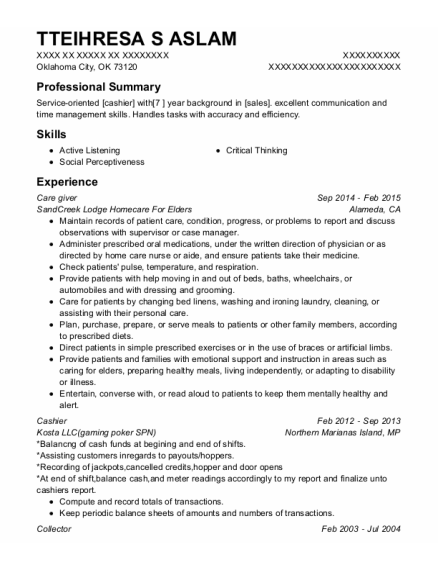 Care giver resume example Oklahoma