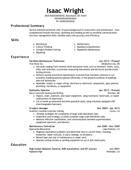 Facilities Maintenance Technician resume format Oklahoma
