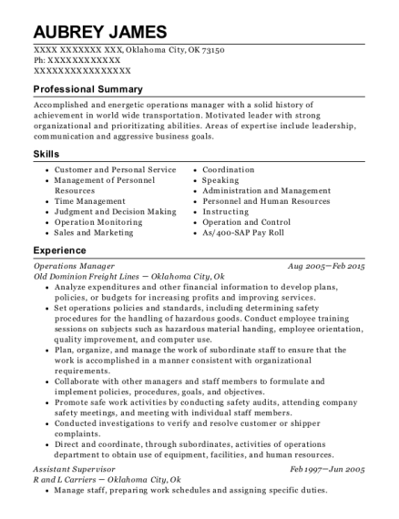 Operations Manager resume sample Oklahoma